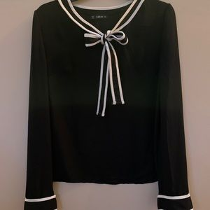 Now Detailed Black 100% Polyester Blouse